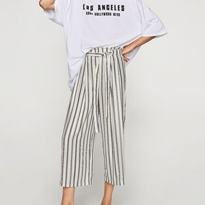 Zara Striped Shimmery Thin Tie-Waist Trousers